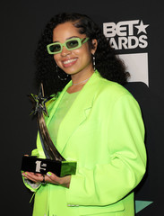 "2019 BET Awards – Photo Room - Los Angeles, California, U.S., June 23, 2019 -  Ella Mai poses backstage with her Viewers Choice Award for ""Trip\"
