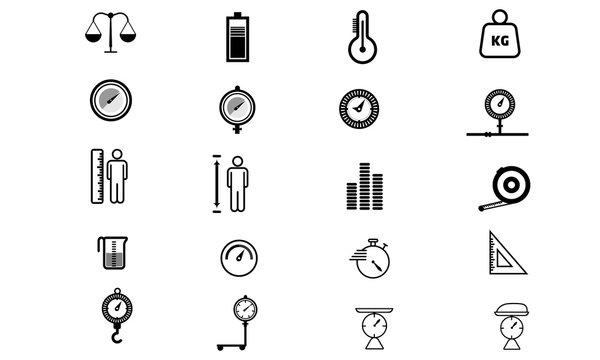 Balance flat glyph icons set weight measurement vector image