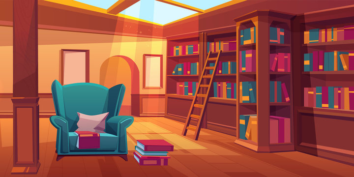 Place for reading books, home library interior, empty room with wooden bookshelves, ladder, cozy armchair with pillow, glass window on roof, literature storage, athenaeum. Cartoon vector illustration