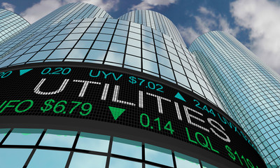 Utilities Stock Market Industry Sector Wall Street Buildings 3d Illustration