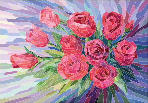 Stained glass flowers beautiful red roses on lilac background. Full-color vector graphics