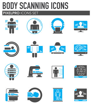 Body scan related icon set on background for graphic and web design. Simple illustration. Internet concept symbol for website button or mobile app.