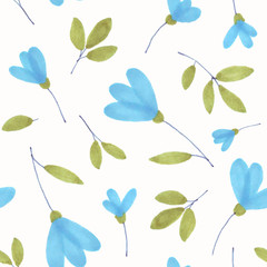 Handdrawn watercolor snowdrop flowers seamless pattern on the white background, holiday decoration, flower ornament for wedding design, scrapbooking, wrapping paper, ornament for any occasion