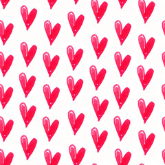 Red seamless pattern watercolor hand drawn hearts