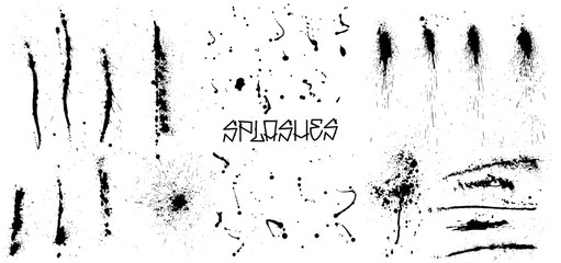 Fotobehang - Set of black grunge splash on white background (isolated).  High quality manually traced.  Grunge distress calligraphy ink stains. Black ink blow explosion. Splatter grunge set. Vector