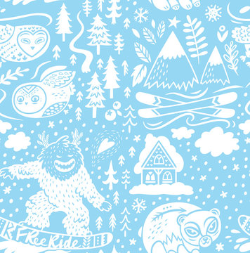 Snowy endless background of ski resort with chalet, mountains and forest animals. Vector illustration