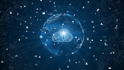 Secure Data Network Digital Cloud Computing Cyber Security Concept. Earth Element Furnished by Nasa