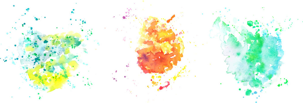 A set of abstract vector watercolor textures in yellow, orange, and teal blue and green, with a place for text or logo