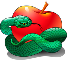 A green snake is wrapped around a red apple