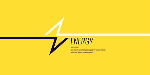 Linear image of lightning on a flat yellow background with text.