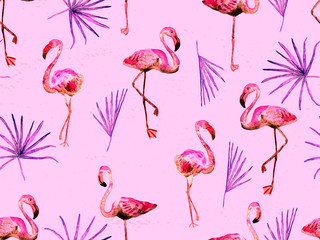 Canvas Prints Flamingo Large flamingo red hawaiian seamless pattern.