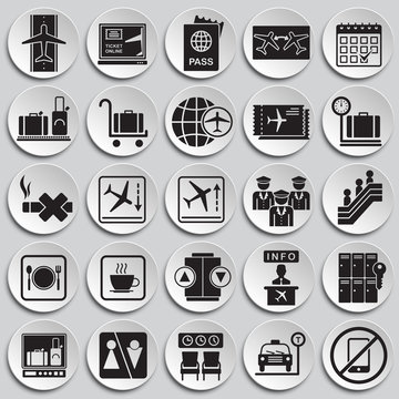 Airport related icons set on plates background for graphic and web design. Simple vector sign. Internet concept symbol for website button or mobile app.