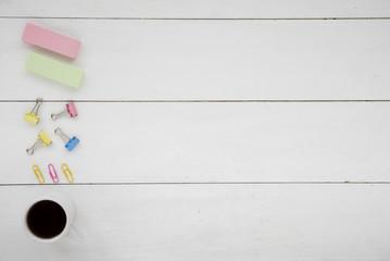 Obraz Top view coffee cup wit stationery - fototapety do salonu