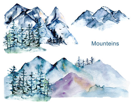 Set with mountains and forest, nature landscapes. Watercolor hand painting sketch scenery. Perfectly for tourism and outdoor design. Illustrations isolated on white background.