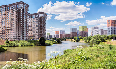 Moscow. June 19, 2019. District Solntsevo. Setunka River. New residential complexes: Tatianin Park and Meshchersky Forest.