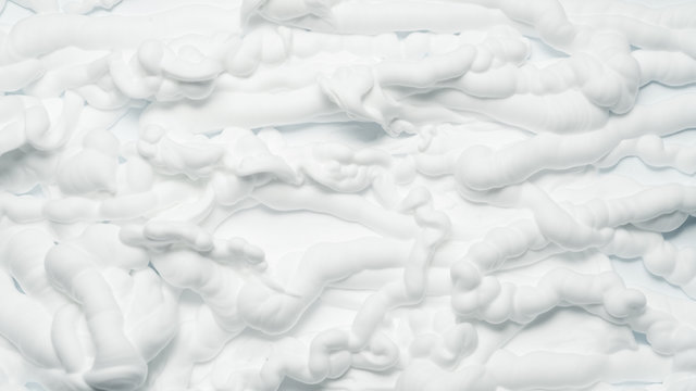 White foam texture abstract art background. Closeup of surface covered with whipped cream.