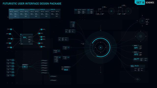 Futuristic user interface design element set 08