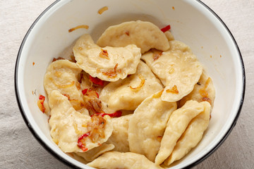 Homemade Dumpling with potato in bowl