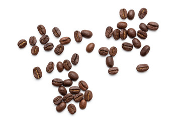 top view of coffee beans isolated on white background,