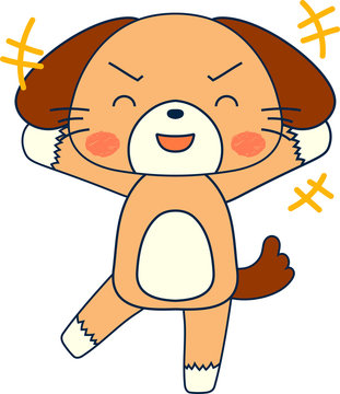 Full-length illustration of the cute dog character
