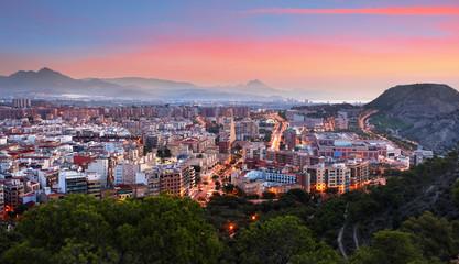 Fotomurales - Skyline of Alicante at night in Spain.