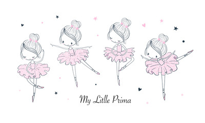 Cartoon dancing ballerina vector illustrations set