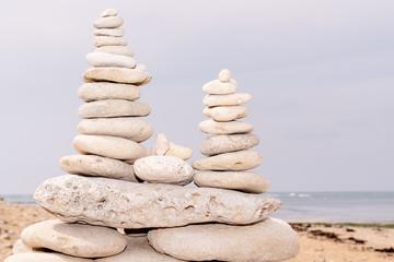 Spa stones balance on beach in Ile de Re France