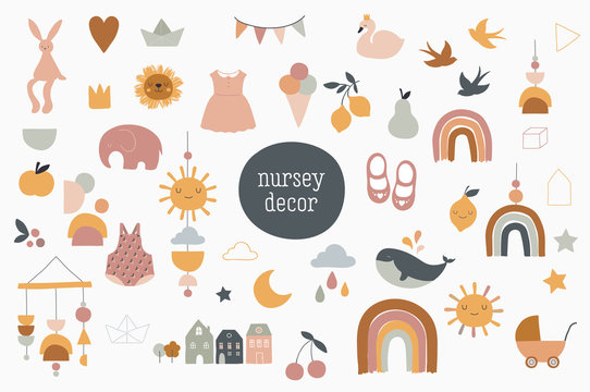 Baby, children, little kids elements in simple, clean modern style. Perfect for nursery decor, fashion design