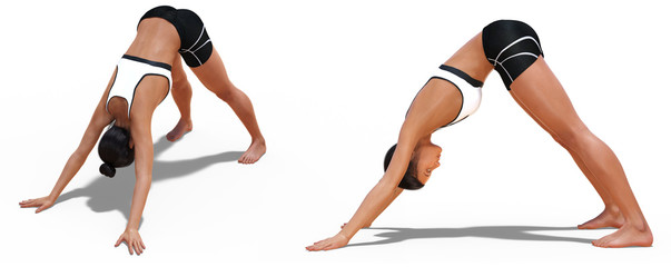 Fotobehang Ontspanning Left Profile and Front Three-quarters Poses of a Woman in Yoga Downward Facing Dog