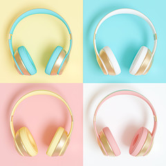 collection of audio headphones in different colors.