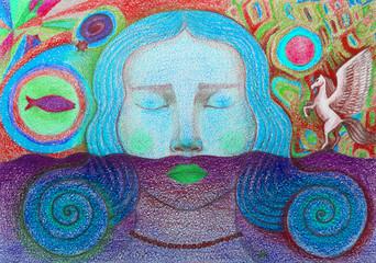 arte moderna bella donna sogni rivelazioni
