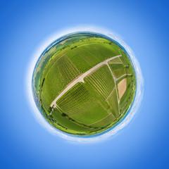 little planet aerial view vineyard scenery at Kaiserstuhl Germany