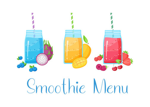 Set of smoothie fruit cocktail flat vector illustration. Tasty natural fruit, jar with colorful layers of smoothies cocktail isolated on white background and Smoothie Menu sign for summer bar design
