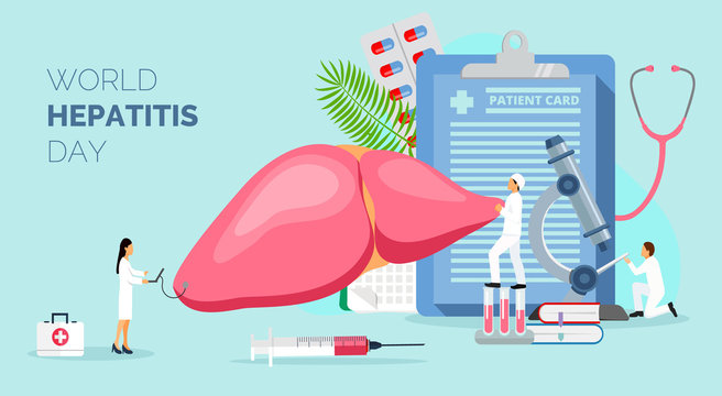 Concept of hepatitis A, B, C, D, cirrhosis, world hepatitis day. Tiny doctors treat the liver. Blue background vector for for website and mobile website development, apps is presented.
