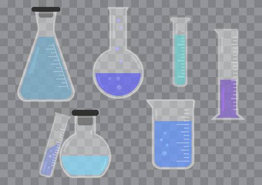 Set of glass chemical flask with colored liquid on transparent background. Vector illustration