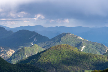 French landscape - Vercors. Panoramic view over the peaks (Col de Rousset) of the Vercors in France.
