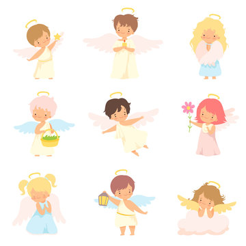 Cute Baby Angels with Nimbus and Wings Set, Adorable Boys And Girls Cartoon Characters in Cupid or Cherub Costumes Vector Illustration