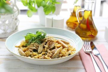 Pasta with oyster mushrooms. Spaghetti tagliatelle with mushrooms.