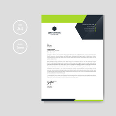 Modern green business letterhead layout
