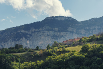 French landscape - Vercors. Panoramic view over the peaks of the Vercors in France.