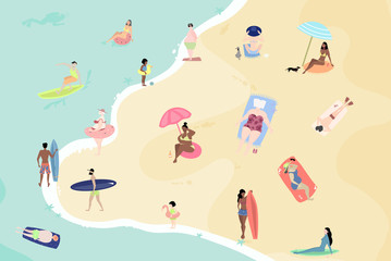 Vector summertime cartoon illustration. People on the beach. Sunbathing, talking, surfing and swimming in sea or ocean. Beach top view flat illustration.