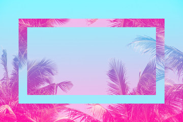 Colorful tropical 80s 90s style coconut palm tree with futuristic mirror effect in pink and blue toned