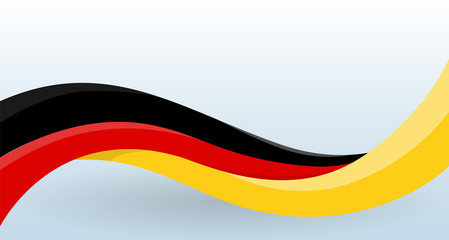 Germany Waving National flag. Modern unusual shape. Design template for decoration of flyer and card, poster, banner and logo. Isolated vector illustration. Fotomurales