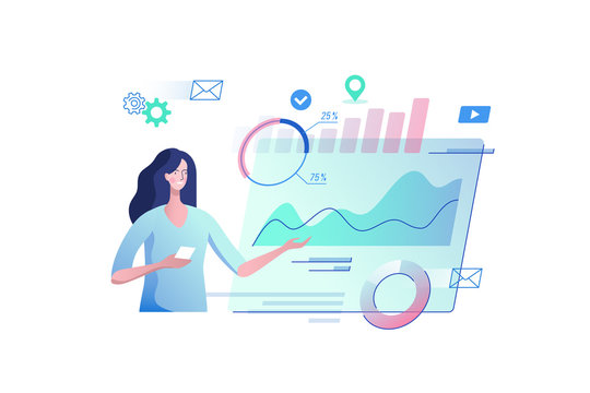 Young woman with a virtual monitor. Concept of digital technology. Remote business process management. Vector illustration.