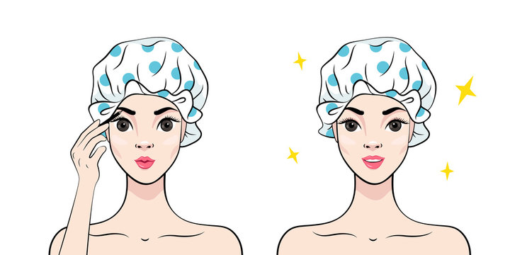 Beautiful young woman in shower cap putting on makeup eyebrow. Happy Woman Applying Cosmetic. Vector illustration