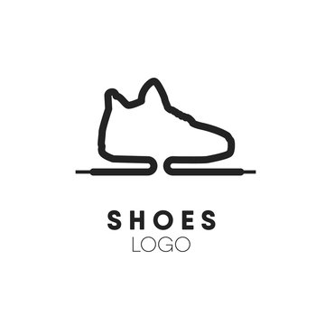 Creative sneakers shop logo design template.