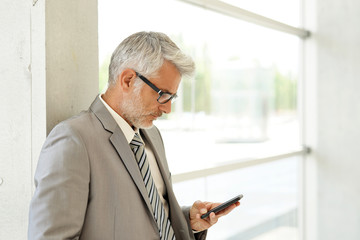 Businessman standing in office building looking at cellphone