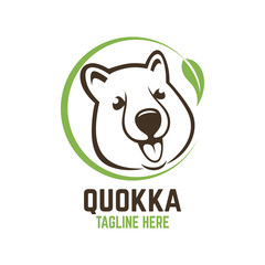 Modern head of the animal quokka logo.