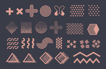 Memphis graphic vector elements. Funky geometric shapes and halftones collection. Illustration of wave and zigzag, stroke funky memphis, composition trend
