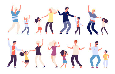 Dancing parents with kids. Happy children dad and mom dance family woman man child dancers. Isolated vector cartoon characters. Family dance together, performance disco characters illustration